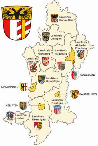 Landkreis Augsburg Karte.Gebiet Und Behorde Bezirk Schwaben